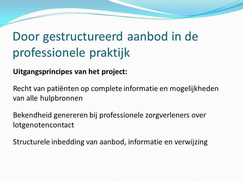 Door gestructureerd aanbod in de professionele praktijk Uitgangsprincipes van het project: Recht van patiënten op complete informatie en mogelijkheden