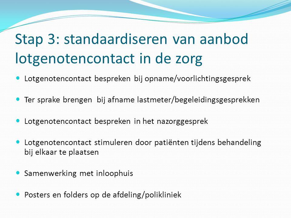 Stap 3: standaardiseren van aanbod lotgenotencontact in de zorg  Lotgenotencontact bespreken bij opname/voorlichtingsgesprek  Ter sprake brengen bij