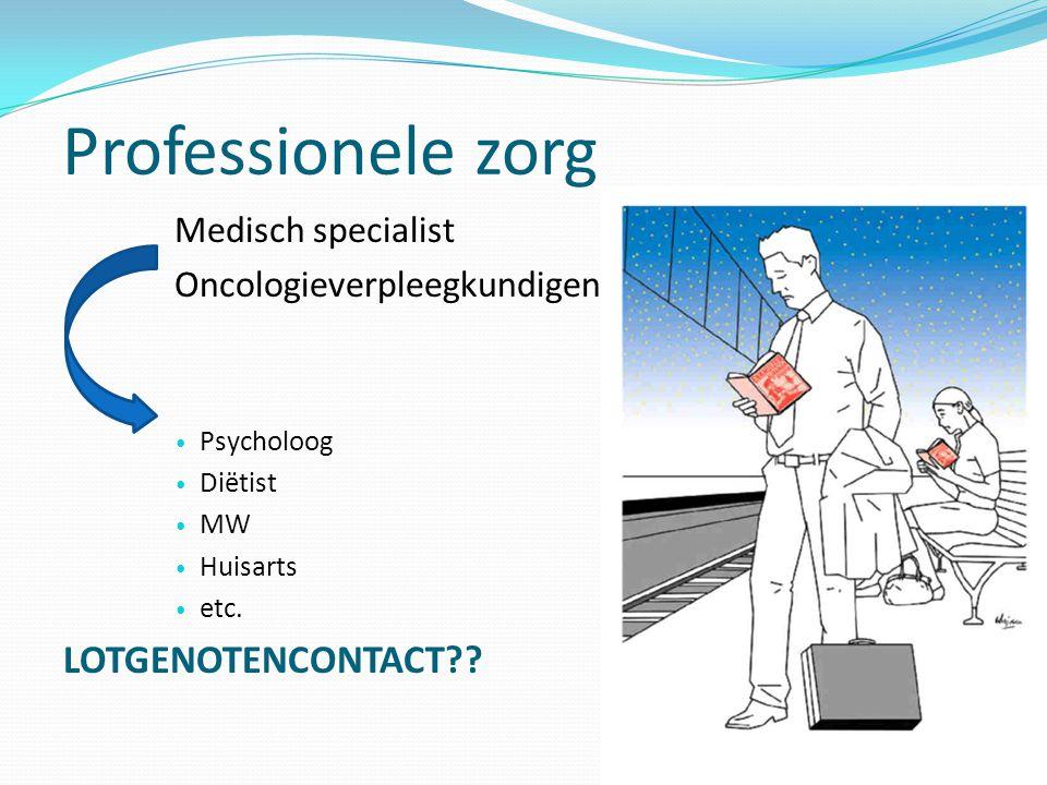 Professionele zorg Medisch specialist Oncologieverpleegkundigen  Psycholoog  Diëtist  MW  Huisarts  etc. LOTGENOTENCONTACT??