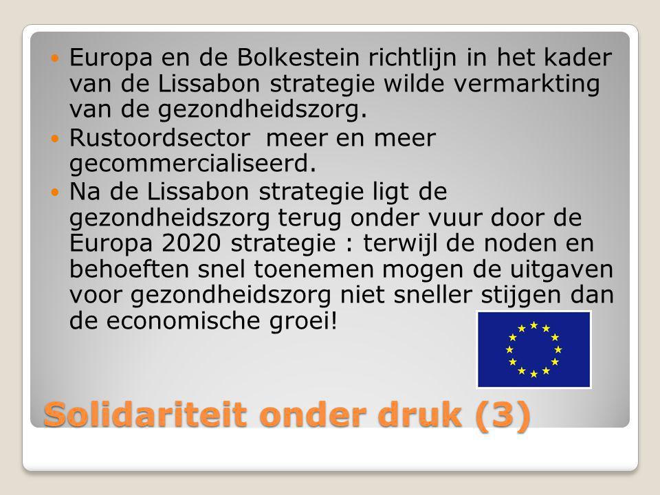 Solidariteit onder druk (3)  Europa en de Bolkestein richtlijn in het kader van de Lissabon strategie wilde vermarkting van de gezondheidszorg.  Rus