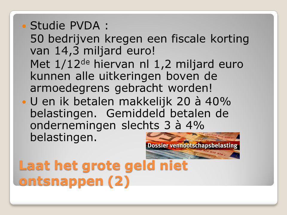 Laat het grote geld niet ontsnappen (2)  Studie PVDA : 50 bedrijven kregen een fiscale korting van 14,3 miljard euro! Met 1/12 de hiervan nl 1,2 milj