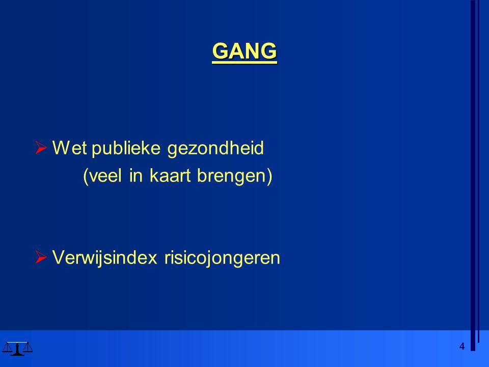 4 GANG  Wet publieke gezondheid (veel in kaart brengen)  Verwijsindex risicojongeren