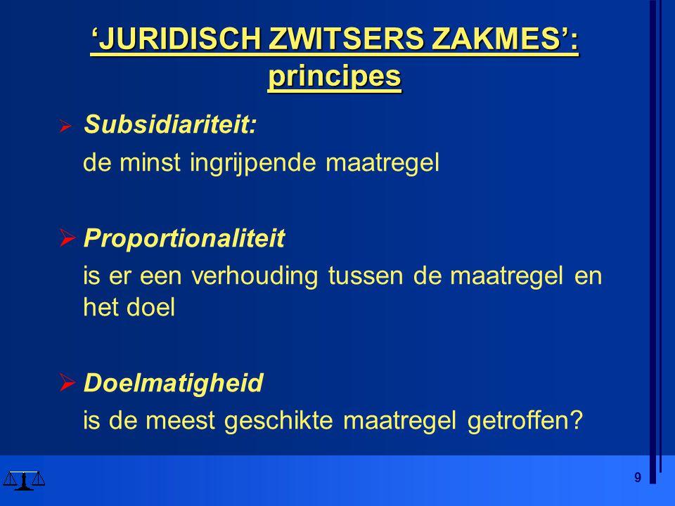 9 'JURIDISCH ZWITSERS ZAKMES': principes  Subsidiariteit: de minst ingrijpende maatregel  Proportionaliteit is er een verhouding tussen de maatregel