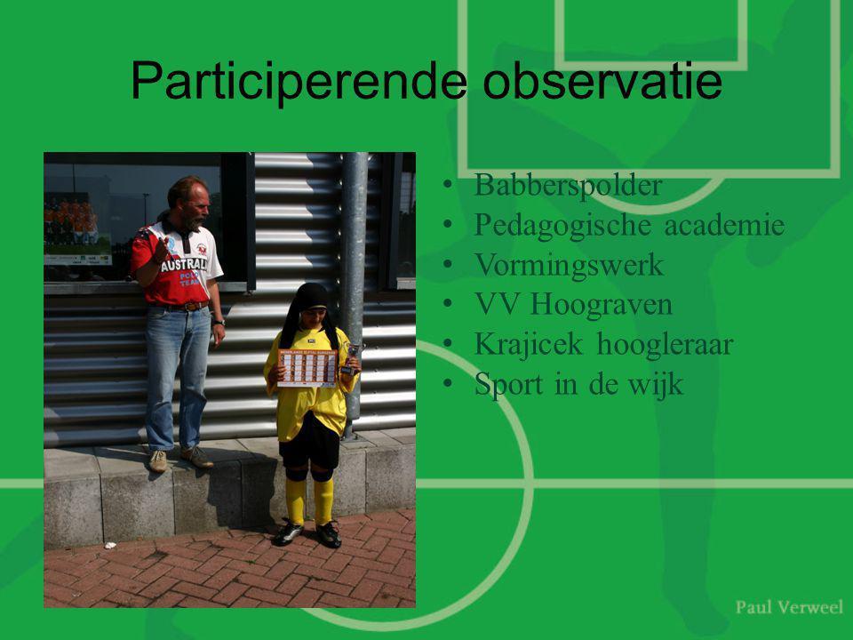 Participerende observatie •Babberspolder •Pedagogische academie •Vormingswerk •VV Hoograven •Krajicek hoogleraar •Sport in de wijk