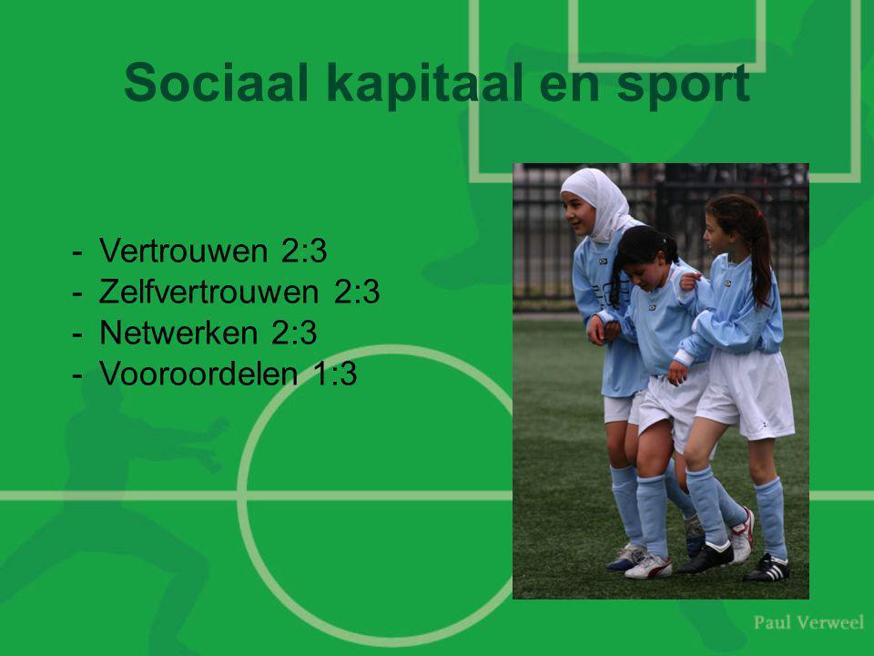 Sociaal kapitaal en sport -Vertrouwen 2:3 -Zelfvertrouwen 2:3 -Netwerken 2:3 -Vooroordelen 1:3