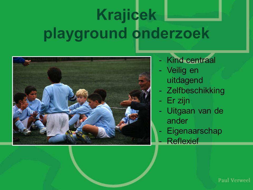 Krajicek playground onderzoek -Kind centraal -Veilig en uitdagend -Zelfbeschikking -Er zijn -Uitgaan van de ander -Eigenaarschap -Reflexief