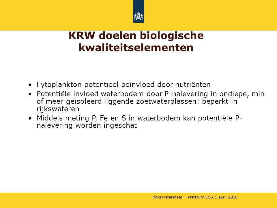 Rijkswaterstaat – Platform ECB 1 april 2010 •Fytoplankton potentieel beïnvloed door nutriënten •Potentiële invloed waterbodem door P-nalevering in ond