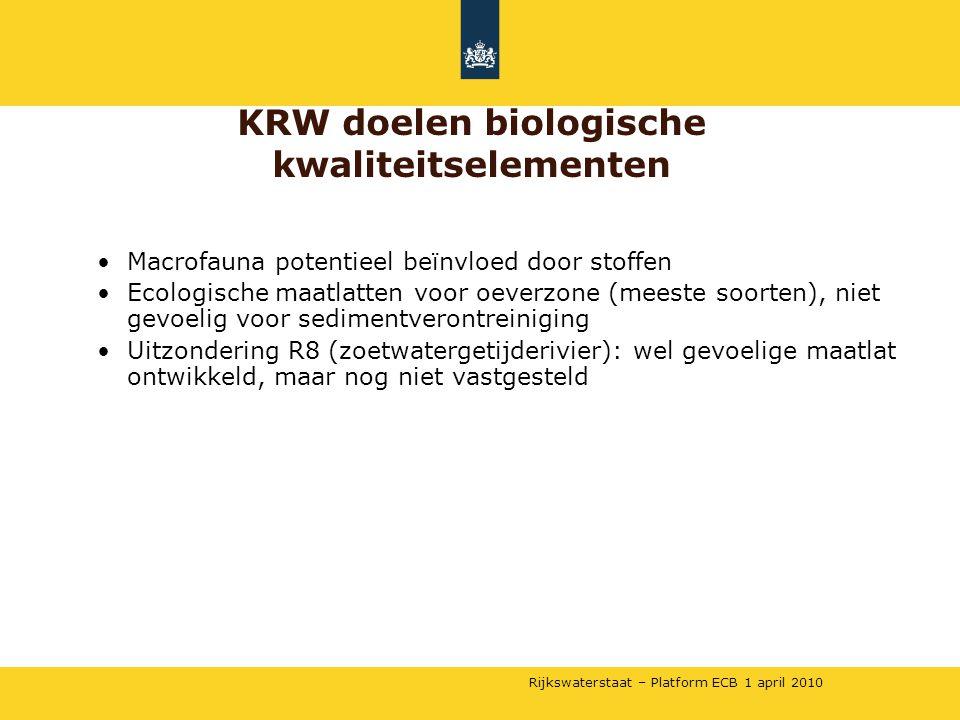 Rijkswaterstaat – Platform ECB 1 april 2010 •Macrofauna potentieel beïnvloed door stoffen •Ecologische maatlatten voor oeverzone (meeste soorten), nie