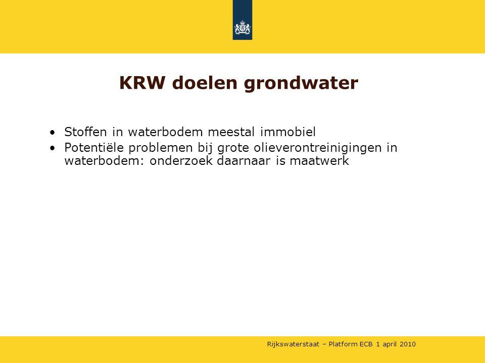 Rijkswaterstaat – Platform ECB 1 april 2010 •Stoffen in waterbodem meestal immobiel •Potentiële problemen bij grote olieverontreinigingen in waterbode