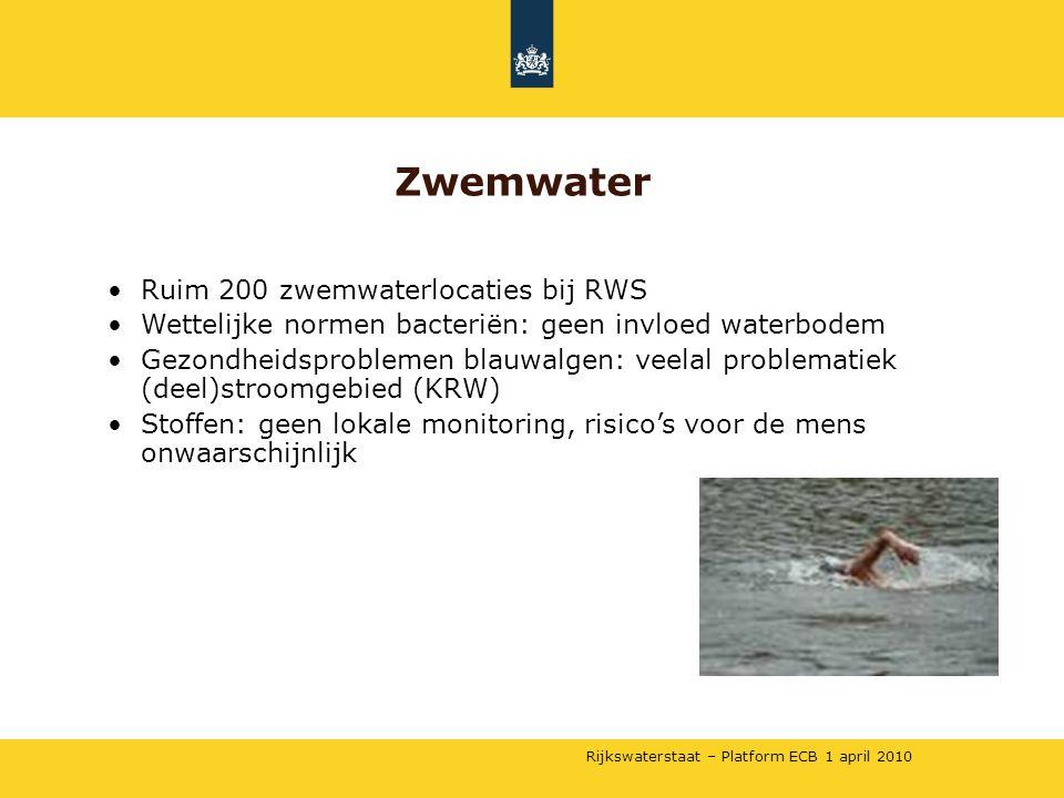 Rijkswaterstaat – Platform ECB 1 april 2010 •Ruim 200 zwemwaterlocaties bij RWS •Wettelijke normen bacteriën: geen invloed waterbodem •Gezondheidsproblemen blauwalgen: veelal problematiek (deel)stroomgebied (KRW) •Stoffen: geen lokale monitoring, risico's voor de mens onwaarschijnlijk Zwemwater
