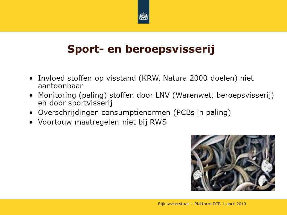 Rijkswaterstaat – Platform ECB 1 april 2010 •Invloed stoffen op visstand (KRW, Natura 2000 doelen) niet aantoonbaar •Monitoring (paling) stoffen door