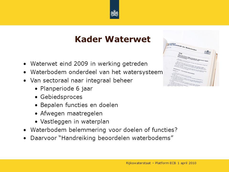 Rijkswaterstaat – Platform ECB 1 april 2010 Kader Waterwet •Waterwet eind 2009 in werking getreden •Waterbodem onderdeel van het watersysteem •Van sec