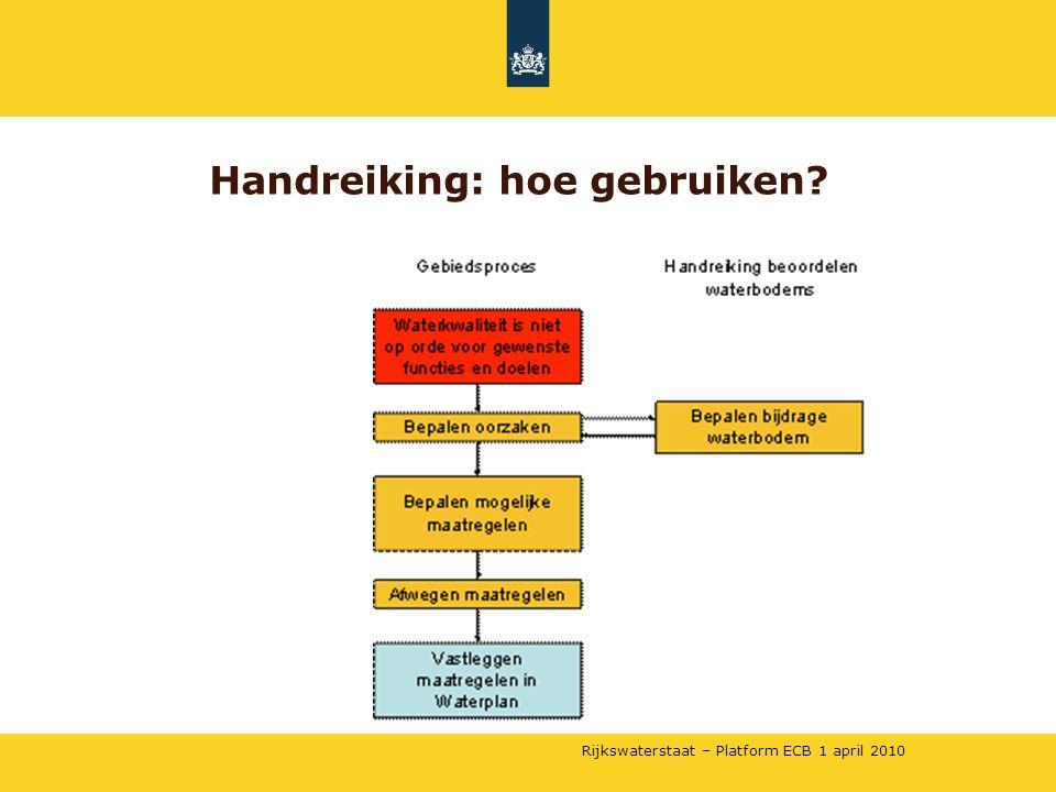 Rijkswaterstaat – Platform ECB 1 april 2010 Handreiking: hoe gebruiken?