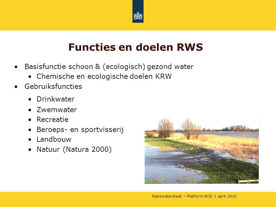 Rijkswaterstaat – Platform ECB 1 april 2010 •Basisfunctie schoon & (ecologisch) gezond water •Chemische en ecologische doelen KRW •Gebruiksfuncties •D