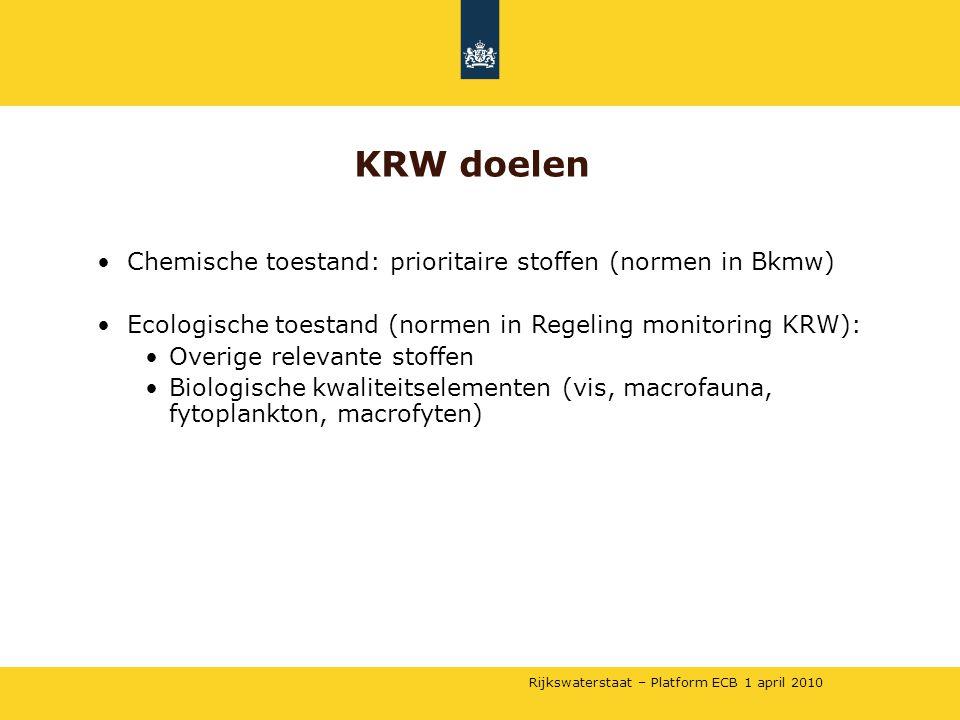 Rijkswaterstaat – Platform ECB 1 april 2010 •Chemische toestand: prioritaire stoffen (normen in Bkmw) •Ecologische toestand (normen in Regeling monito