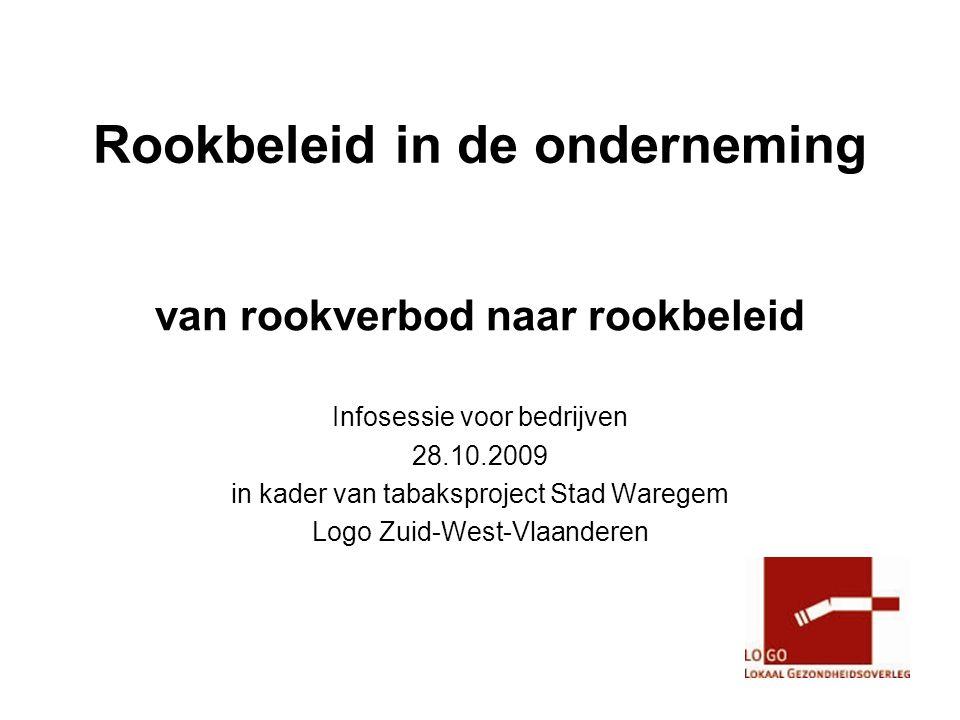 Rookbeleid in de onderneming van rookverbod naar rookbeleid Infosessie voor bedrijven 28.10.2009 in kader van tabaksproject Stad Waregem Logo Zuid-West-Vlaanderen