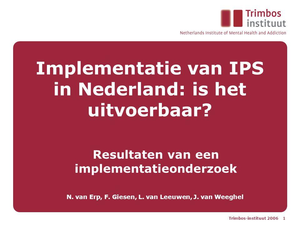 Trimbos-instituut 2006 1 Implementatie van IPS in Nederland: is het uitvoerbaar.