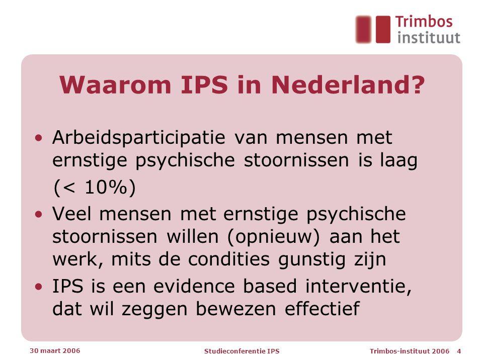 Trimbos-instituut 2006 4 30 maart 2006 Studieconferentie IPS Waarom IPS in Nederland.