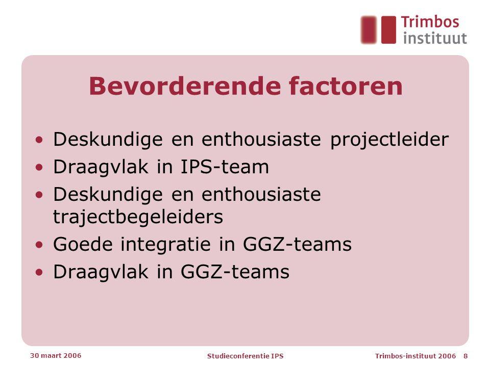 Trimbos-instituut 2006 8 30 maart 2006 Studieconferentie IPS Bevorderende factoren •Deskundige en enthousiaste projectleider •Draagvlak in IPS-team •Deskundige en enthousiaste trajectbegeleiders •Goede integratie in GGZ-teams •Draagvlak in GGZ-teams