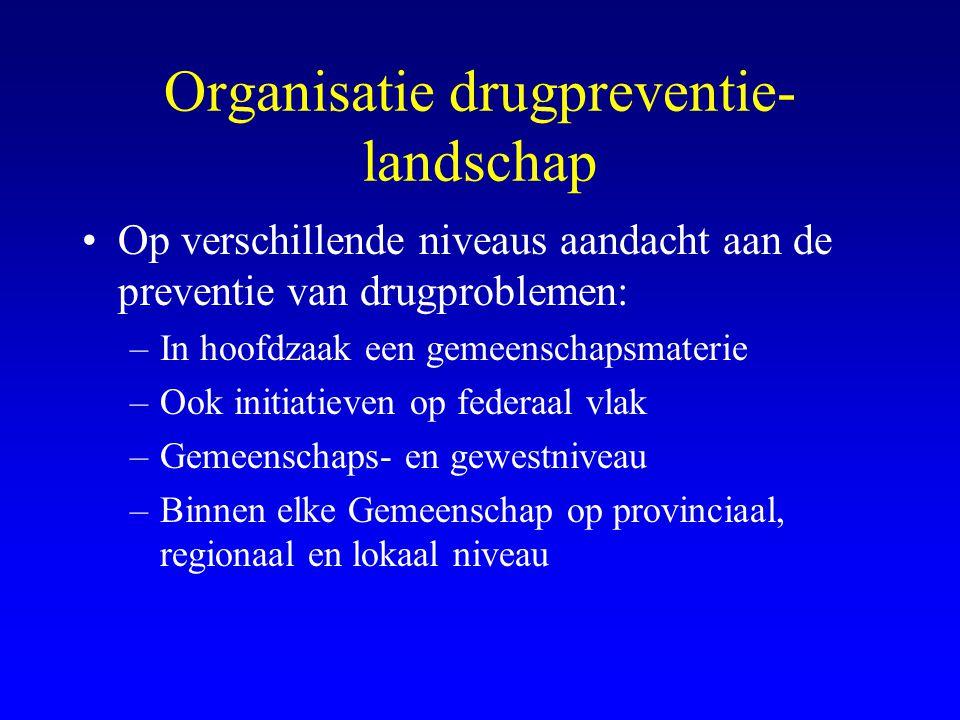 Organisatie drugpreventie- landschap •Op verschillende niveaus aandacht aan de preventie van drugproblemen: –In hoofdzaak een gemeenschapsmaterie –Ook initiatieven op federaal vlak –Gemeenschaps- en gewestniveau –Binnen elke Gemeenschap op provinciaal, regionaal en lokaal niveau