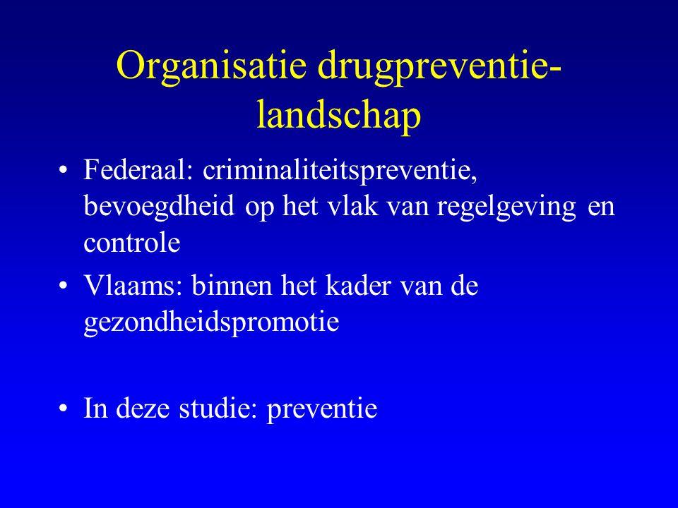 Organisatie drugpreventie- landschap •Federaal: criminaliteitspreventie, bevoegdheid op het vlak van regelgeving en controle •Vlaams: binnen het kader van de gezondheidspromotie •In deze studie: preventie