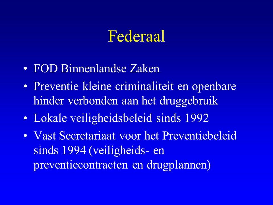 Federaal •FOD Binnenlandse Zaken •Preventie kleine criminaliteit en openbare hinder verbonden aan het druggebruik •Lokale veiligheidsbeleid sinds 1992 •Vast Secretariaat voor het Preventiebeleid sinds 1994 (veiligheids- en preventiecontracten en drugplannen)