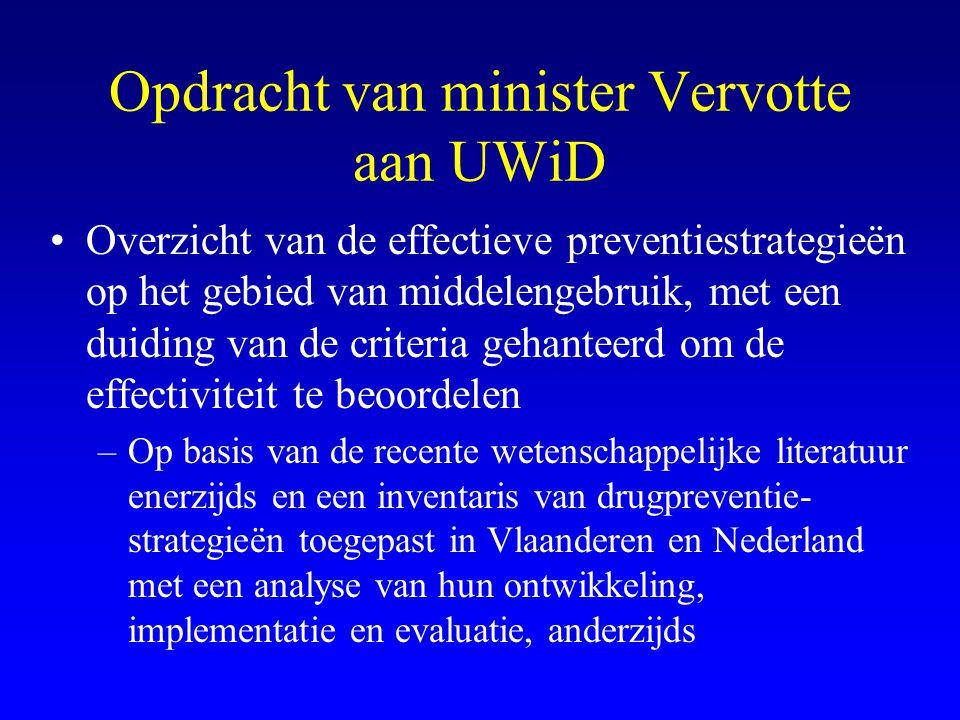 Opdracht van minister Vervotte aan UWiD •Overzicht van de effectieve preventiestrategieën op het gebied van middelengebruik, met een duiding van de cr