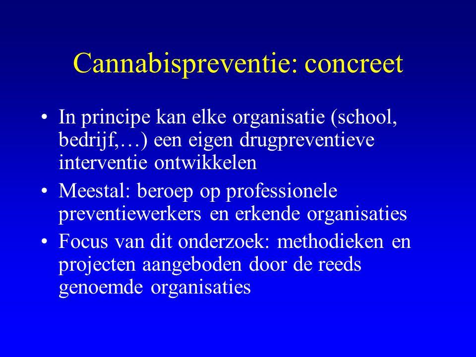 Cannabispreventie: concreet •In principe kan elke organisatie (school, bedrijf,…) een eigen drugpreventieve interventie ontwikkelen •Meestal: beroep op professionele preventiewerkers en erkende organisaties •Focus van dit onderzoek: methodieken en projecten aangeboden door de reeds genoemde organisaties