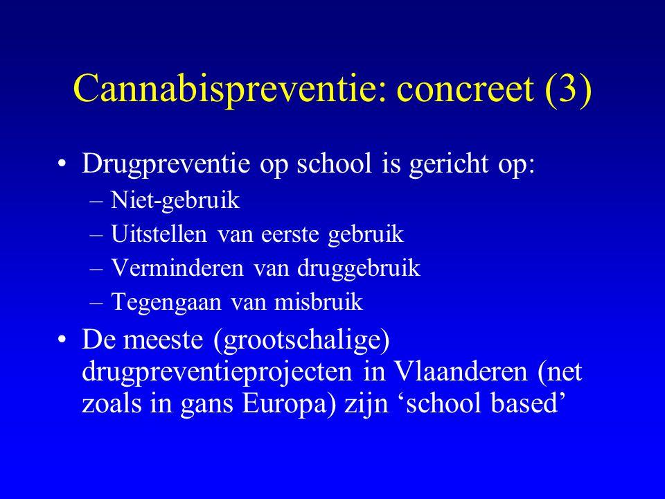 Cannabispreventie: concreet (3) •Drugpreventie op school is gericht op: –Niet-gebruik –Uitstellen van eerste gebruik –Verminderen van druggebruik –Tegengaan van misbruik •De meeste (grootschalige) drugpreventieprojecten in Vlaanderen (net zoals in gans Europa) zijn 'school based'