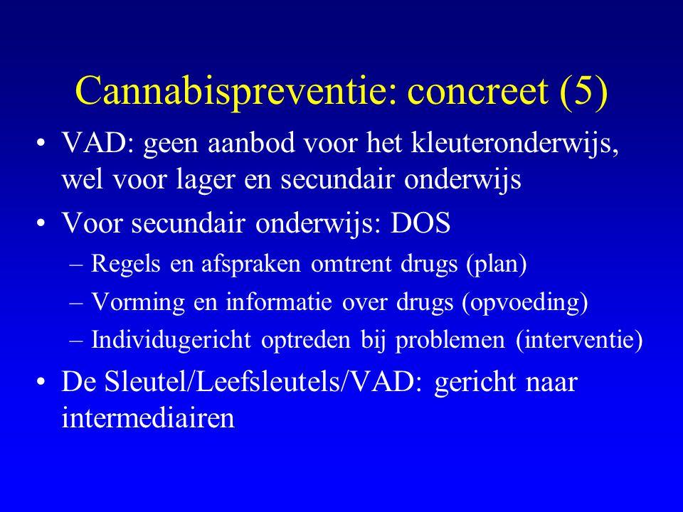 Cannabispreventie: concreet (5) •VAD: geen aanbod voor het kleuteronderwijs, wel voor lager en secundair onderwijs •Voor secundair onderwijs: DOS –Reg