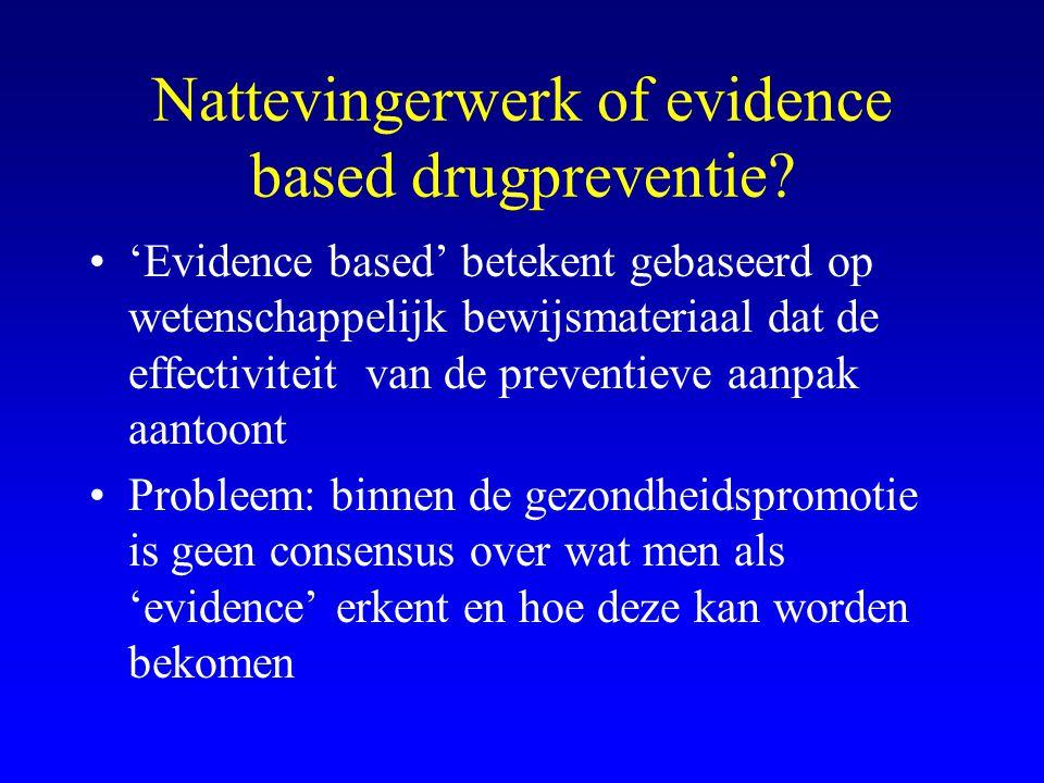 Nattevingerwerk of evidence based drugpreventie? •'Evidence based' betekent gebaseerd op wetenschappelijk bewijsmateriaal dat de effectiviteit van de