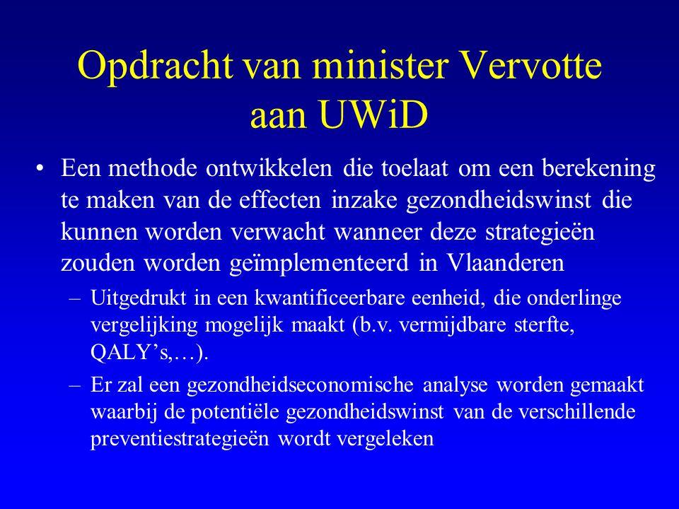 Opdracht van minister Vervotte aan UWiD •Een methode ontwikkelen die toelaat om een berekening te maken van de effecten inzake gezondheidswinst die kunnen worden verwacht wanneer deze strategieën zouden worden geïmplementeerd in Vlaanderen –Uitgedrukt in een kwantificeerbare eenheid, die onderlinge vergelijking mogelijk maakt (b.v.