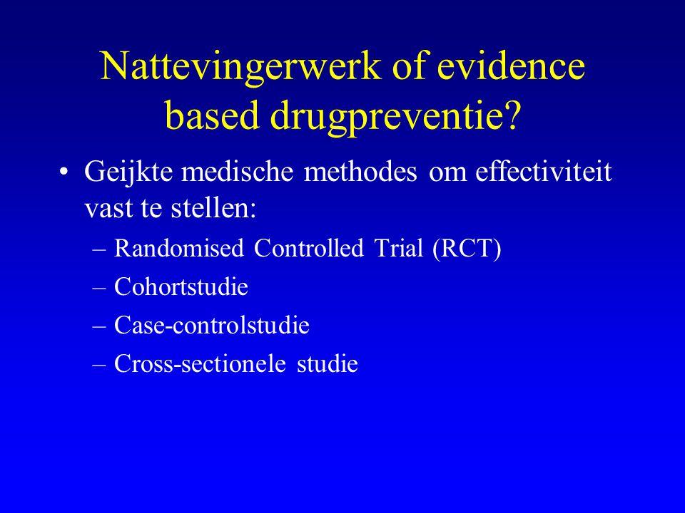 Nattevingerwerk of evidence based drugpreventie? •Geijkte medische methodes om effectiviteit vast te stellen: –Randomised Controlled Trial (RCT) –Coho