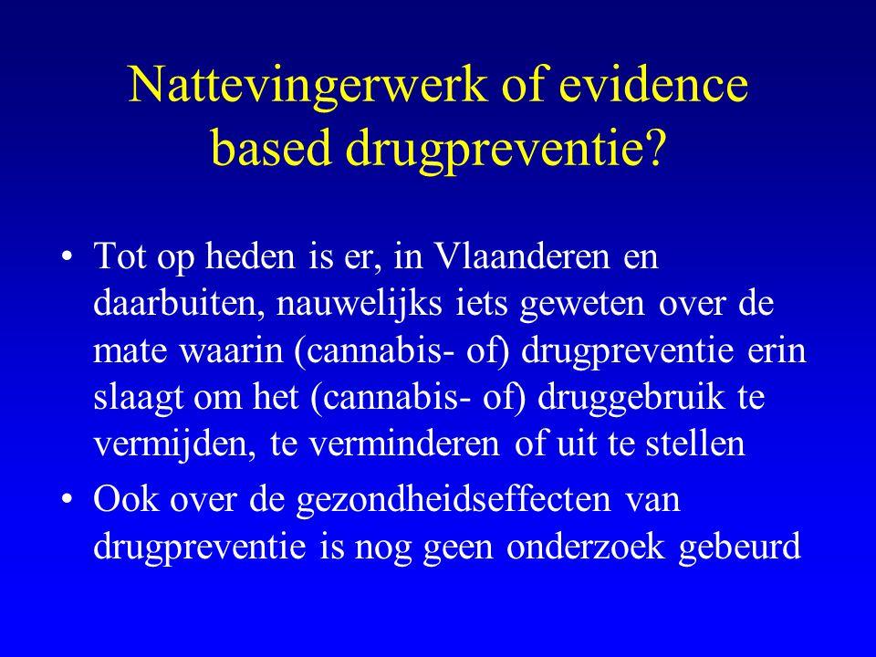 Nattevingerwerk of evidence based drugpreventie? •Tot op heden is er, in Vlaanderen en daarbuiten, nauwelijks iets geweten over de mate waarin (cannab