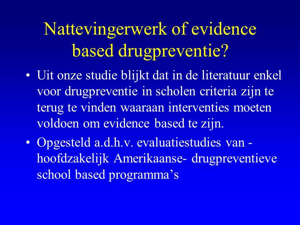Nattevingerwerk of evidence based drugpreventie? •Uit onze studie blijkt dat in de literatuur enkel voor drugpreventie in scholen criteria zijn te ter