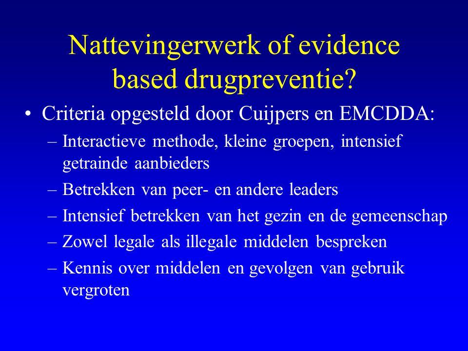 Nattevingerwerk of evidence based drugpreventie? •Criteria opgesteld door Cuijpers en EMCDDA: –Interactieve methode, kleine groepen, intensief getrain