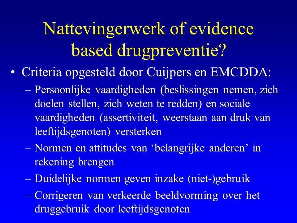 Nattevingerwerk of evidence based drugpreventie? •Criteria opgesteld door Cuijpers en EMCDDA: –Persoonlijke vaardigheden (beslissingen nemen, zich doe
