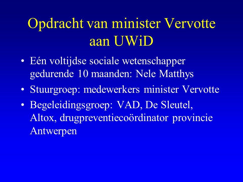 Opdracht van minister Vervotte aan UWiD •Eén voltijdse sociale wetenschapper gedurende 10 maanden: Nele Matthys •Stuurgroep: medewerkers minister Verv