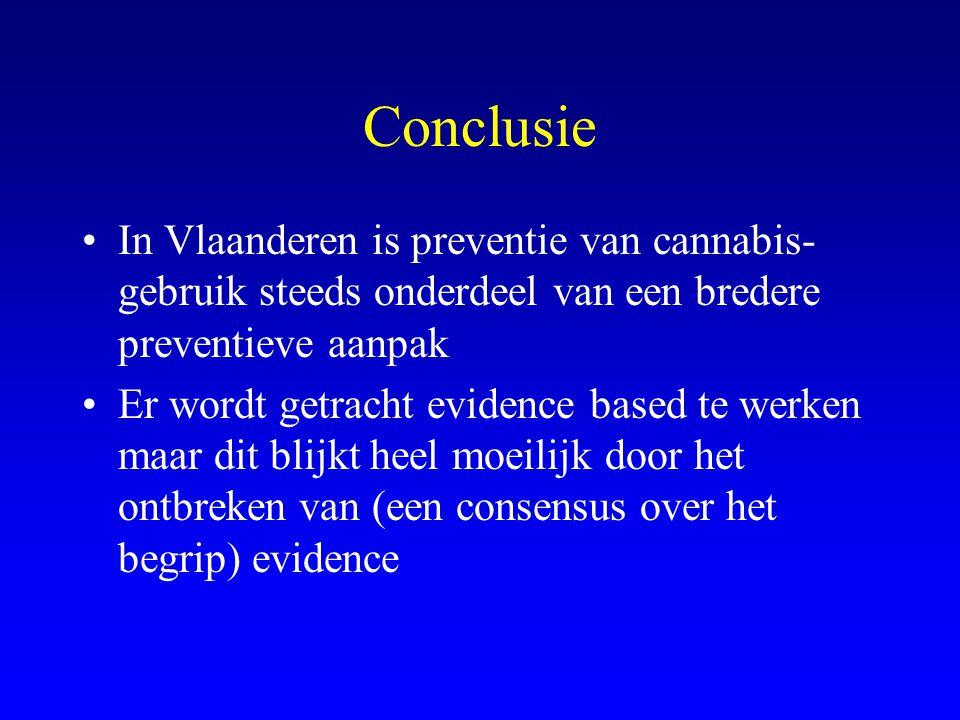 Conclusie •In Vlaanderen is preventie van cannabis- gebruik steeds onderdeel van een bredere preventieve aanpak •Er wordt getracht evidence based te werken maar dit blijkt heel moeilijk door het ontbreken van (een consensus over het begrip) evidence