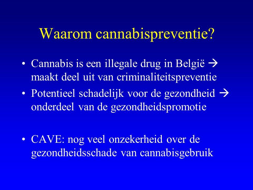 Waarom cannabispreventie? •Cannabis is een illegale drug in België  maakt deel uit van criminaliteitspreventie •Potentieel schadelijk voor de gezondh