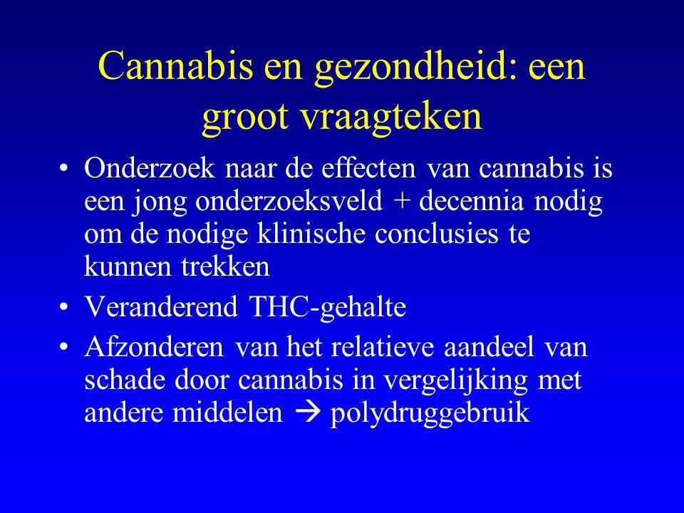 Cannabis en gezondheid: een groot vraagteken •Onderzoek naar de effecten van cannabis is een jong onderzoeksveld + decennia nodig om de nodige klinische conclusies te kunnen trekken •Veranderend THC-gehalte •Afzonderen van het relatieve aandeel van schade door cannabis in vergelijking met andere middelen  polydruggebruik