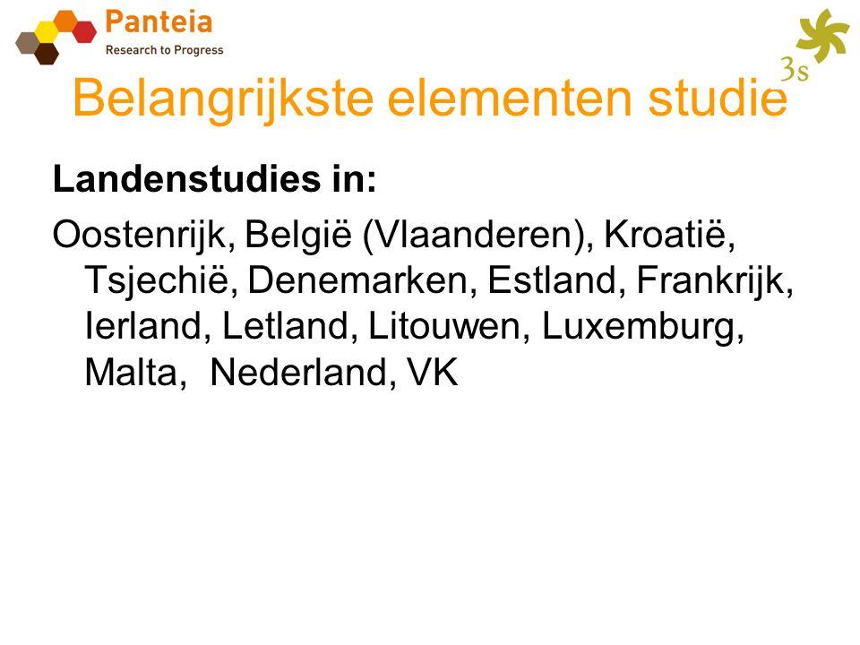 Belangrijkste elementen studie Landenstudies in: Oostenrijk, België (Vlaanderen), Kroatië, Tsjechië, Denemarken, Estland, Frankrijk, Ierland, Letland,