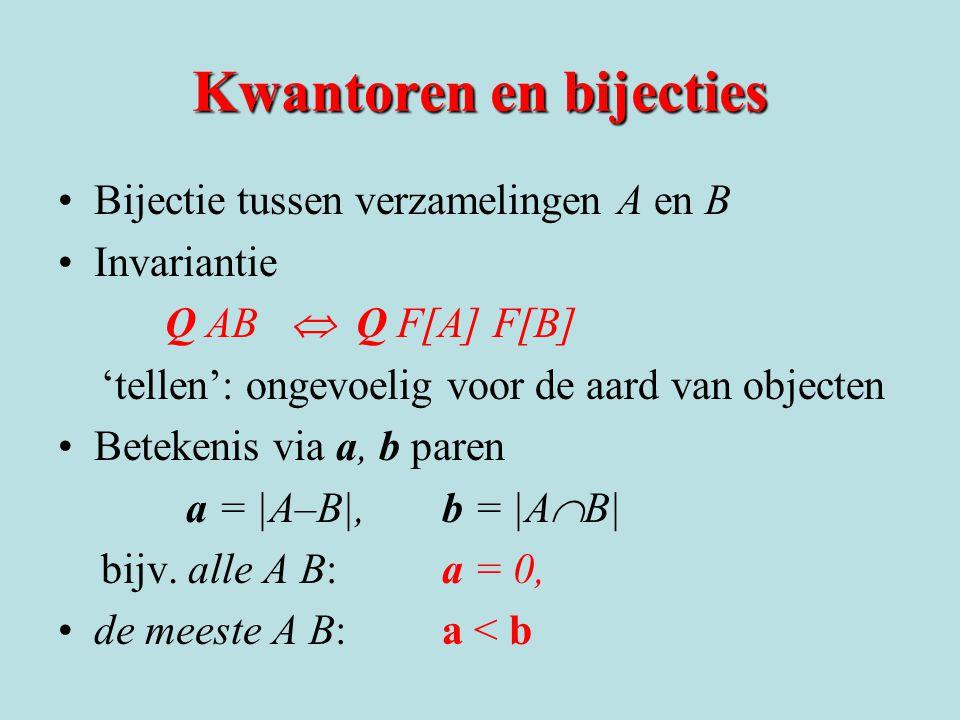 Kwantoren en bijecties •Bijectie tussen verzamelingen A en B •Invariantie Q AB  Q F[A] F[B] 'tellen': ongevoelig voor de aard van objecten •Betekenis