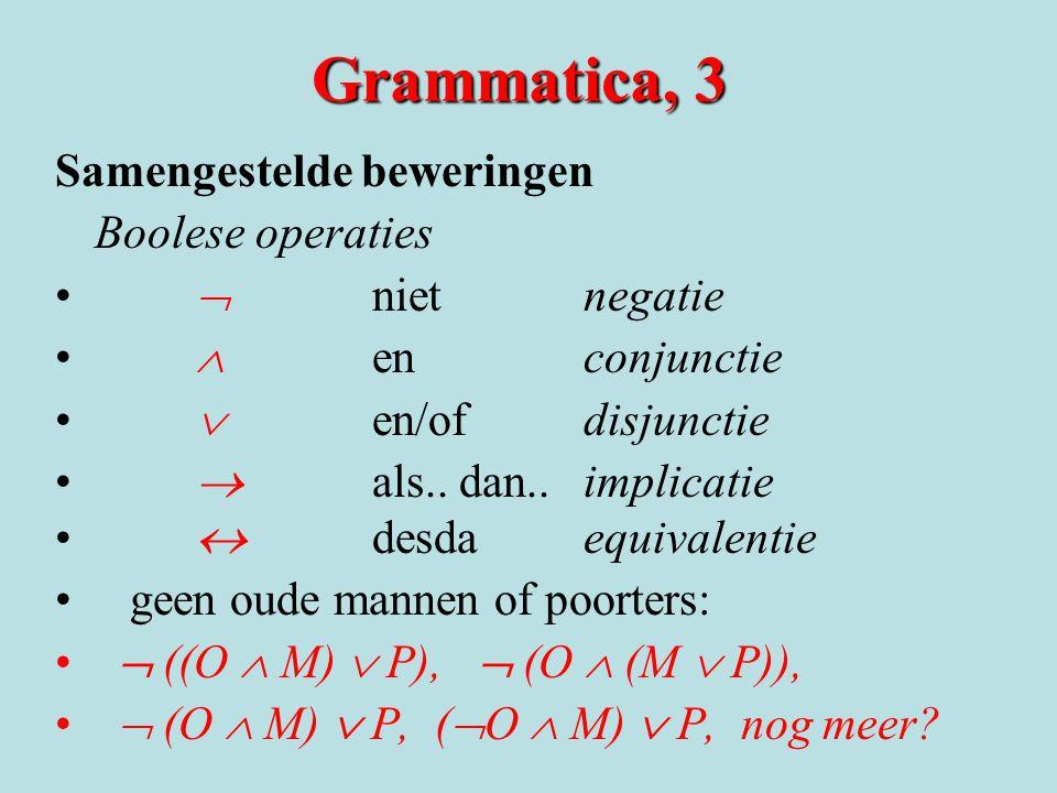 Grammatica, 3 Samengestelde beweringen Boolese operaties •  nietnegatie •  enconjunctie •  en/ofdisjunctie •  als.. dan.. implicatie •  desdaequi