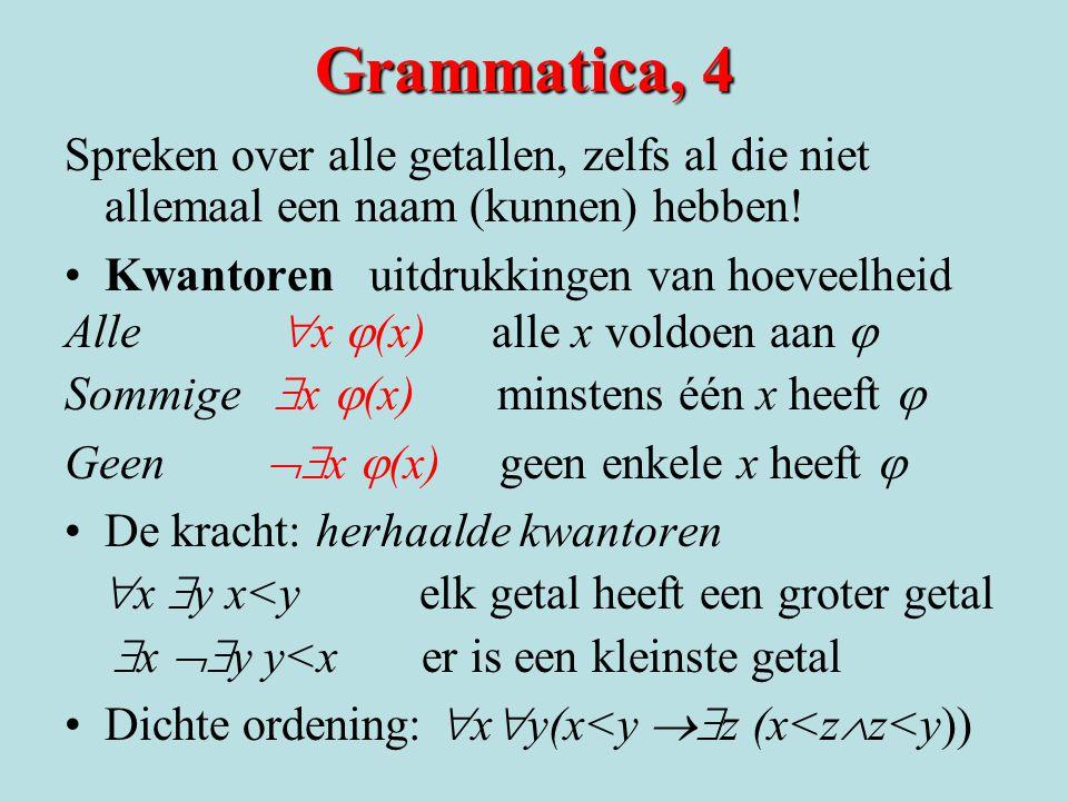 Grammatica, 4 Spreken over alle getallen, zelfs al die niet allemaal een naam (kunnen) hebben! •Kwantoren uitdrukkingen van hoeveelheid Alle  x  (x)