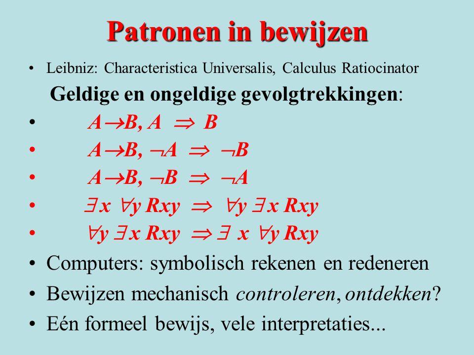 Patronen in bewijzen •Leibniz: Characteristica Universalis, Calculus Ratiocinator Geldige en ongeldige gevolgtrekkingen: • A  B, A  B • A  B,  A 