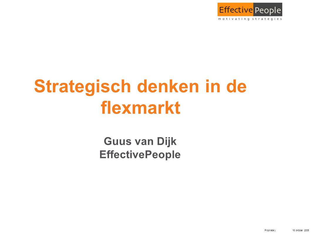 Proprietary 18 oktober 2005 Strategisch denken in de flexmarkt Guus van Dijk EffectivePeople