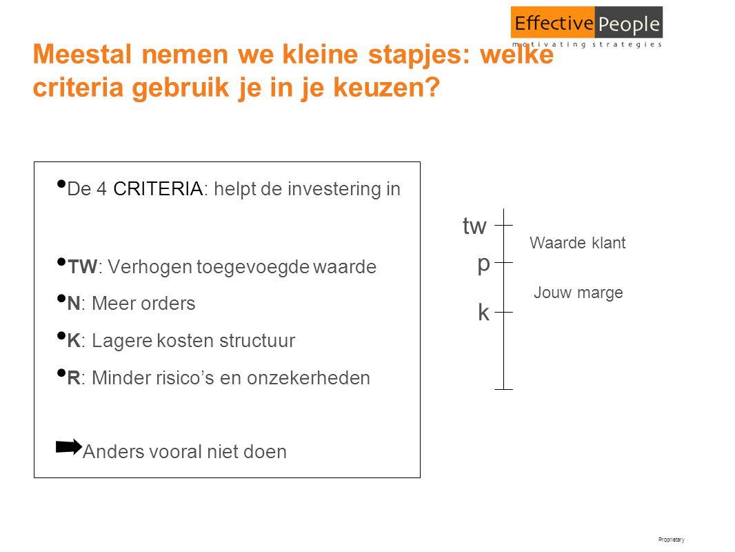 Proprietary Meestal nemen we kleine stapjes: welke criteria gebruik je in je keuzen? • De 4 CRITERIA: helpt de investering in • TW: Verhogen toegevoeg