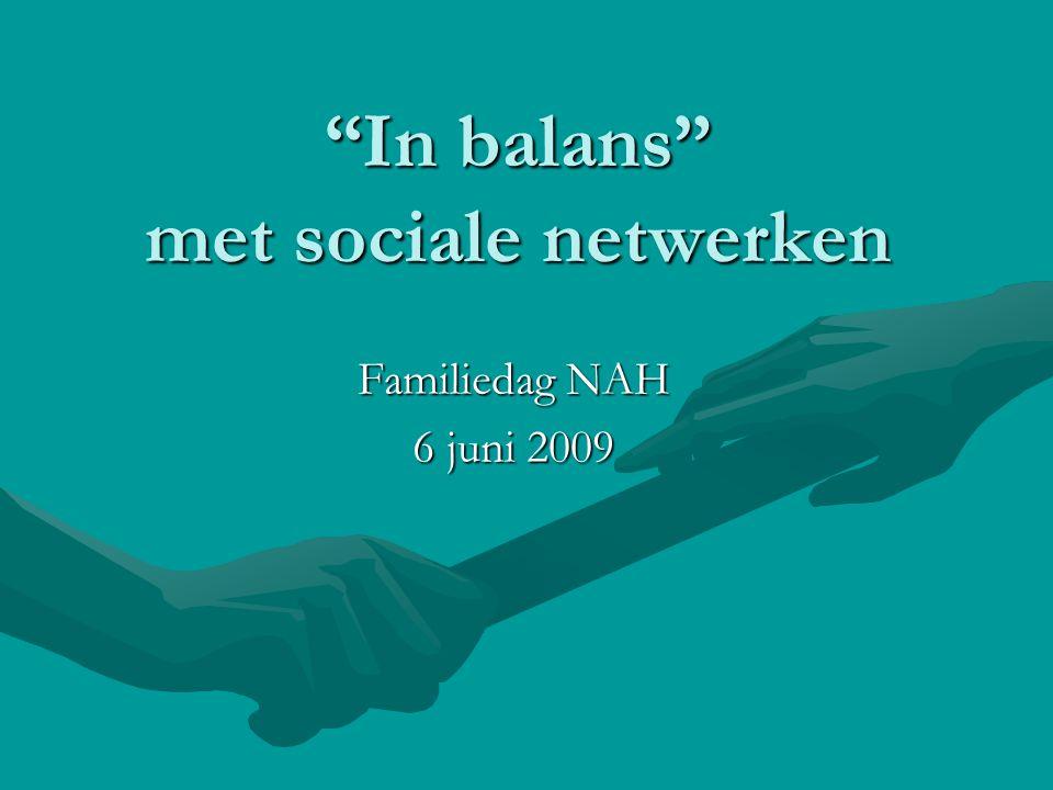 """In balans"" met sociale netwerken Familiedag NAH 6 juni 2009"