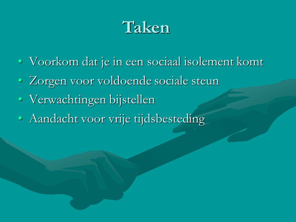 •Voorkom dat je in een sociaal isolement komt •Zorgen voor voldoende sociale steun •Verwachtingen bijstellen •Aandacht voor vrije tijdsbesteding Taken
